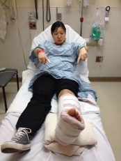 Broken ankle, pregnant belly